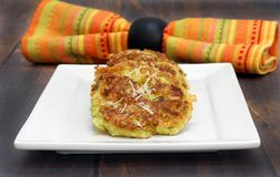 Organic Zucchini Fritters, with a sprinkle of parmesan cheese. Stock Photos
