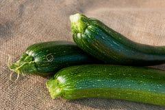 Organic zucchini on sackcloth background. Three organic fresh zucchini on sackcloth background Stock Photos