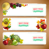 Organically fruits banners with autumn leaves Royalty Free Stock Photography