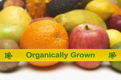 Organically Grown Fruits With Yellow Tape Stock Photography