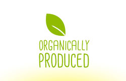 Organically produced green leaf text concept logo icon design Royalty Free Stock Images