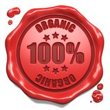 Organico - bollo sulla guarnizione rossa della cera. Fotografie Stock