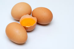Organics eggs. Some fresh and organic eggs on white background Royalty Free Stock Photography