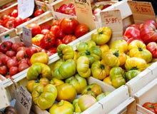 Organicznie świezi pomidory od śródziemnomorskich rolników wprowadzać na rynek w Prov obraz royalty free