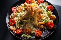 Organicznie Caesar sałatka z Caesar opatrunkiem kurczaków ryż karmowi międzynarodowi zdjęcie stock