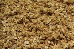 Organicznie domowej roboty Granola zboże z owsami i migdałem Tekstury oatmeal muesli jako tło lub granola Odgórny widok lub Lay k zdjęcie stock
