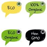 Organicznie Eco Non Gmo natury życiorys ikona Obrazy Stock