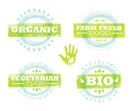 Organicznie Eco projekta Karmowy Kreatywnie Szorstki pojęcie Je Lokalnych Świeżych produkty Ilustracyjnych Na Grunge tle royalty ilustracja