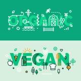 Organicznie i weganin jedzenia sztandary Fotografia Royalty Free
