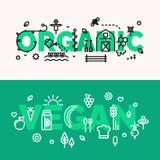 Organicznie i weganin jedzenia sztandary Zdjęcia Royalty Free