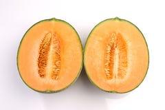 Organicznie kantalupa melonowa owoc odizolowywająca na białym tle obraz stock