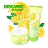 Organicznie kosmetyka produkt z cytryna wektorem Obraz Stock