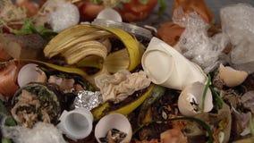 Organicznie kuchenni gruzy z pozostawionym zróżnicowanym jedzeniem i nieorganicznym odpady zbiory wideo