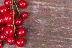 Organicznie ogrodowe jagody na starym drewno stole od above, obecna czerwony Zdjęcie Stock