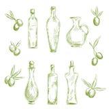 Organicznie oliwa z oliwek z świeżych owoc nakreślenia ikonami Obraz Stock