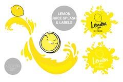 Organicznie owoc przylepia etykietk? etykietki i cytryna soku tekst Kolorowi tropikalni majchery : royalty ilustracja