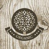 Organicznie produkt odznaka z drzewem na drewnianej teksturze Wektorowy Illust Zdjęcie Royalty Free