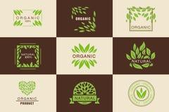 Organicznie produktu logo szablonu set, odznaki kolekcje, produkty, naturalne, weganin, projektów elementów emblematów, świe royalty ilustracja