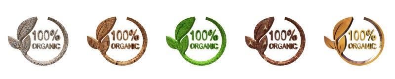 100% Organicznie projekt, 3d rendering ilustracja wektor