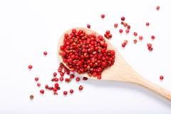 Organicznie Różowy Peppercorn na bielu Zdjęcia Royalty Free