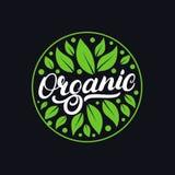 Organicznie ręka pisać piszący list loga, etykietka, odznaka, emblemat z świeży jaskrawym - zieleń Zdjęcie Royalty Free