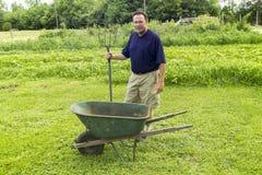 Organicznie rolnik Dostaje Przygotowywający Mieszać kompost Zdjęcie Royalty Free