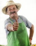 Organicznie rolnik podnosi jego kciuk obraz royalty free
