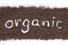 Organicznie słowo na chia sia tło odizolowywającego na bielu Obrazy Stock