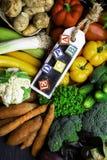 organicznie warzywa bogaci w witaminie jako A, b, C, d, P, E obrazy stock