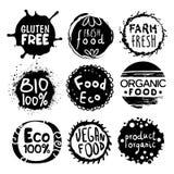 Organicznie Życiorys Karmowy Czarny I Biały etykietka set Fotografia Royalty Free