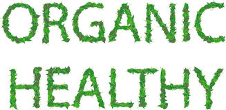 Organicznie, zdrowa inskrypcja zieleń, opuszcza z kroplami Fotografia Stock