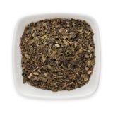 Organicznie zielonej herbaty Herbacianej torby cięcie, suszący liście (Kameliowy sinensis) Zdjęcie Stock