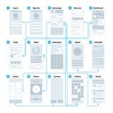 Organigramme d'interface d'application d'ui d'Ux Maquette mobile de vecteur de plan du site de gestion de wireframes illustration stock