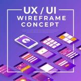 Organigramme d'UX UI Concept mobile d'application de maquettes isométrique illustration de vecteur