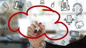 Organigramme de nuage de dessin d'homme d'affaires clips vidéos