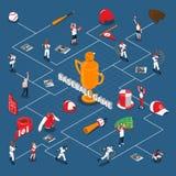 Organigramme isométrique de jeu de baseball Images stock