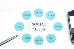 Organigramme social de concept d'affaires de medias. Crayon lecteur, touchpad, fond de smartphone photo libre de droits