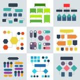 Organigrammi, diagrammi di flusso e strutture strutturali di processo di scorrimento Elementi di infographics di vettore illustrazione di stock