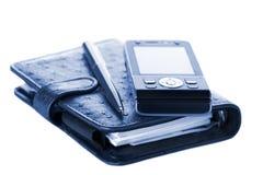 Organisateur, crayon lecteur et téléphone portable Images libres de droits