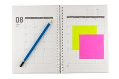 Organisateur de 2014 août avec le crayon et le post-it Photo stock