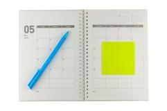 Organisateur 2014 de mai avec le stylo et le post-it Photos stock