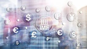 Organisatie van de het Internationale monetaire fondsen de globale bank van het IMF Bedrijfsconcept op Vage Achtergrond royalty-vrije illustratie