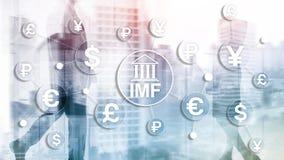 Organisatie van de het Internationale monetaire fondsen de globale bank van het IMF Bedrijfsconcept op Vage Achtergrond stock afbeeldingen