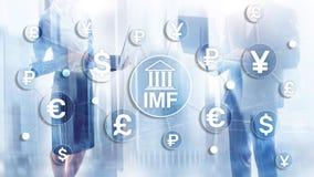 Organisatie van de het Internationale monetaire fondsen de globale bank van het IMF Bedrijfsconcept op Vage Achtergrond vector illustratie