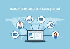 Organisatie van gegevens over het werk met cliënten, CRM-concept De illustratie van het klantrelatiebeheer royalty-vrije illustratie