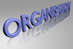 Organisation. The word organisation in 3d royalty free illustration