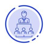 Organisation affär, människa, ledarskap, blå prickig linje linje symbol för ledning royaltyfri illustrationer