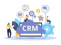 Organisation av data på arbete med klienter, kundförhållandeledning CRM begreppsdesign med vektorbeståndsdelar royaltyfri illustrationer