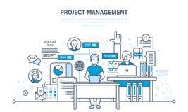 Organisation av den arbetande processen, tid, affärsplanläggning, statistik, analys, teamwork stock illustrationer