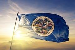 Organisation av för flaggatextil för amerikanska stater som OAS OEA tyg för torkduk vinkar på den bästa soluppgångmistdimman royaltyfri illustrationer